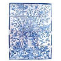 Mural flores en azul y blanco